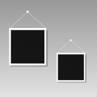 Illustration of picture frame templates on transparent background for photos.