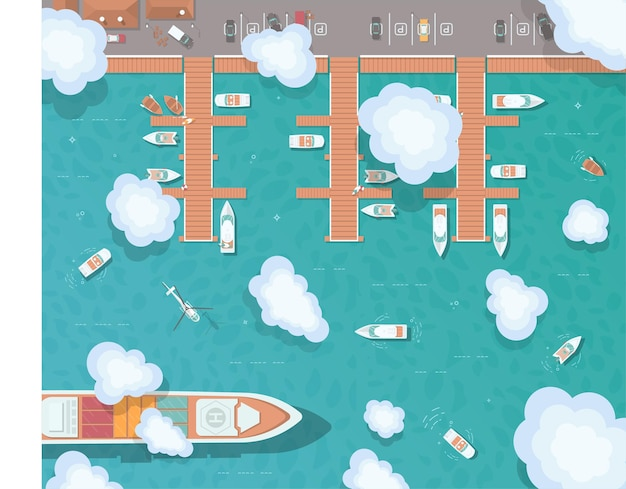 Illustration of a pier in flat style