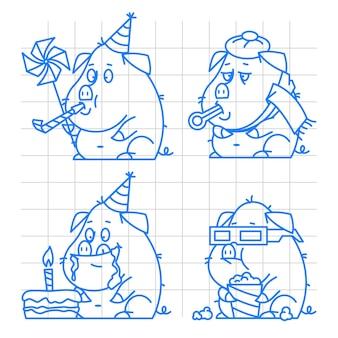 イラスト、豚キャラクター落書きコンセプトセット1、フォーマットeps 10