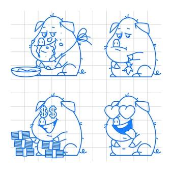 삽화, 돼지 캐릭터 낙서 개념 세트 2, 형식 eps 10
