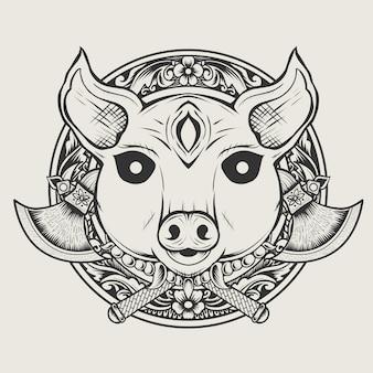イラスト豚悪魔頭モノクロスタイル