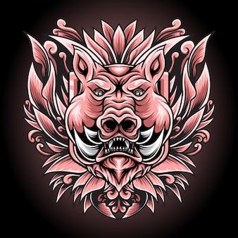 Иллюстрация свиньи с гравировкой орнамента для дизайна футболки