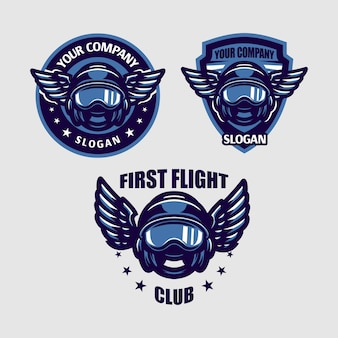 Illustration  of pilot helmet with wing emblem perfect for pilot, flying company, etc