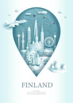 Символ точки булавки иллюстрации с достопримечательностями древней архитектуры финляндии