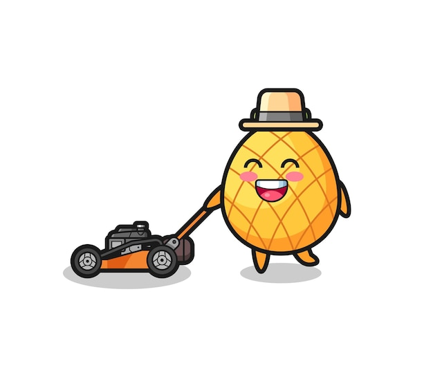 Illustration of the pineapple character using lawn mower
