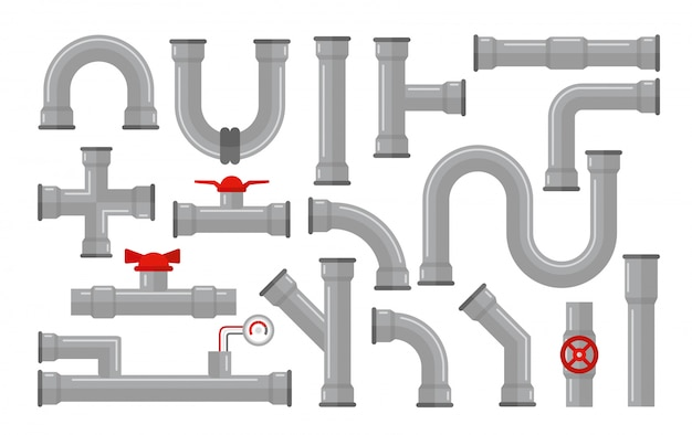 Illustration of pipes, types for water collection. steel and plastic connectors, pipes in grey color with red valves in flat style isolated on white background.