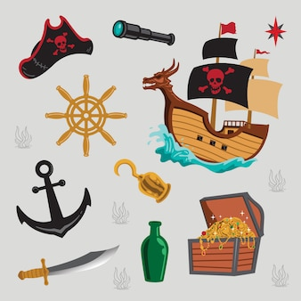 Illustration of pirates elements