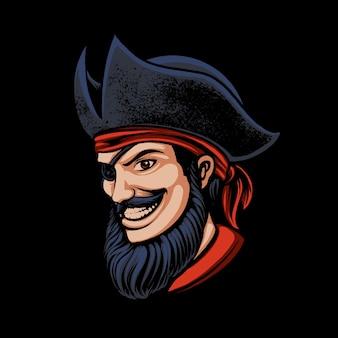 Illustration of pirates man one eye design