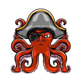 The illustration of the pirates octopus has only one eye and his color is red with has many tentacle