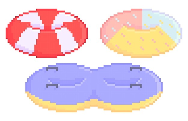 Illustration of pixelated swimming tire