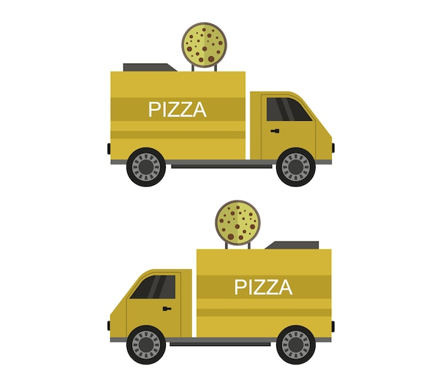 Illustration of pizza delivery trucks