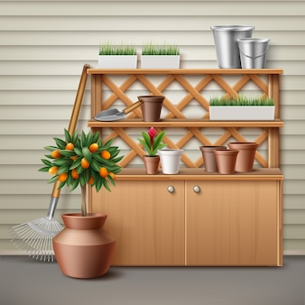 Illustration of place with cupboard and shelf for tools gardening