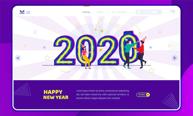 Illustration places the 2020 number for a new year's party on the landing page template