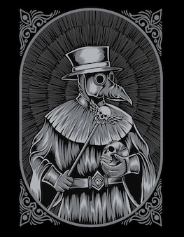 Illustration plague doctor engraving style
