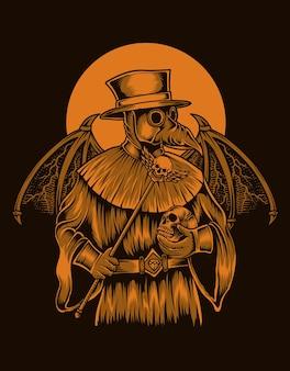悪魔の翼を持つイラストペスト医師