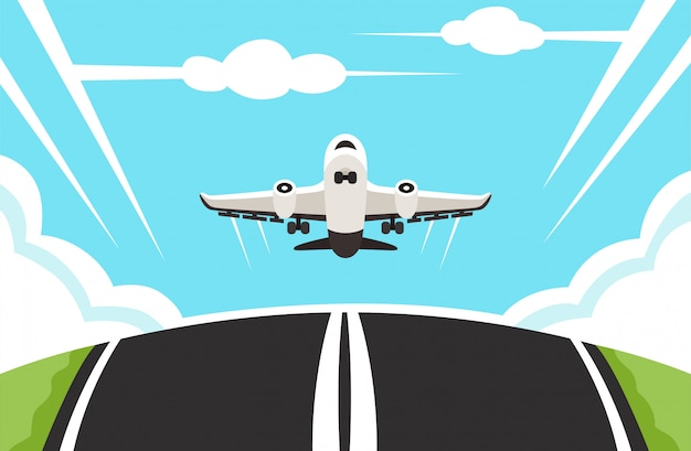 Illustration of a plane landing