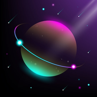 Illustration of planet and universe. modern isometric style and gradation colors