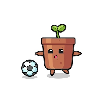 Illustration of plant pot cartoon is playing soccer , cute style design for t shirt, sticker, logo element