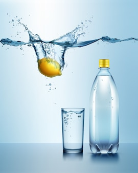 Illustration of plastic bottle with glass of drink and juicy lemon under blue water with splash