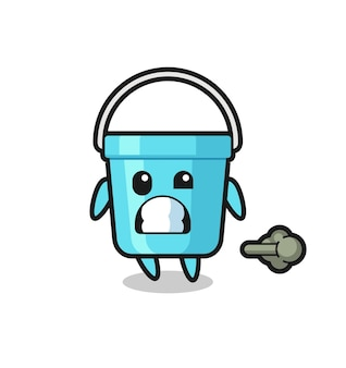 The illustration of the plastic bucket cartoon doing fart , cute style design for t shirt, sticker, logo element