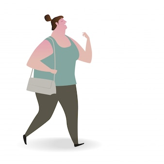 Illustration of plump woman