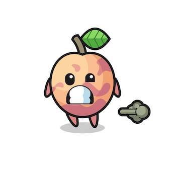 The illustration of the pluot fruit cartoon doing fart , cute style design for t shirt, sticker, logo element