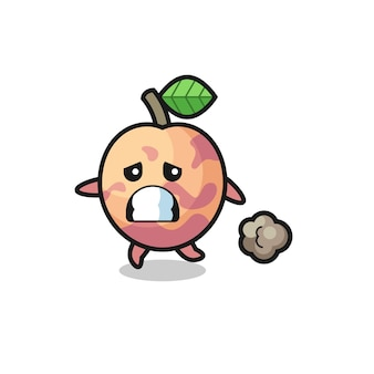 Illustration of the pluot fruit running in fear , cute style design for t shirt, sticker, logo element