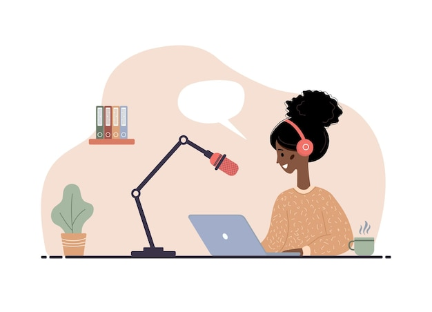 Illustration of podcast. african woman in headphones at table recording audio broadcast.