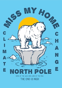 Illustration of polar bear on the edge of the thin ice because of climate change global warming