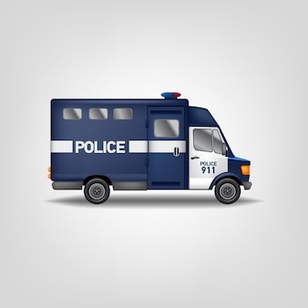 Illustration police car. realistic  van. blue service truck template