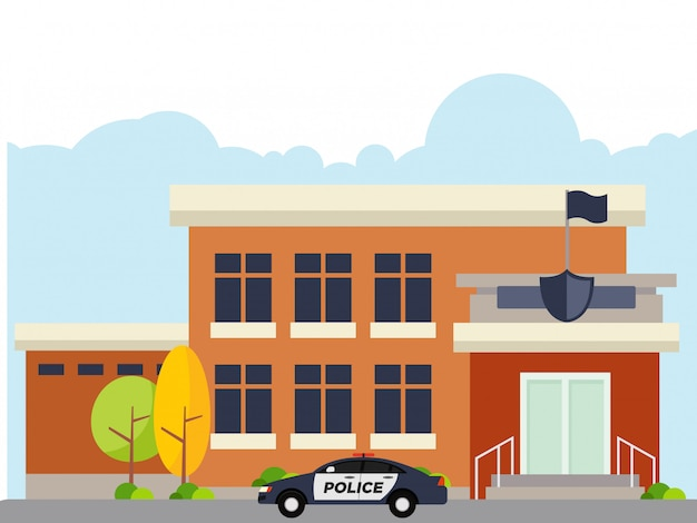 Illustration of police station at noon