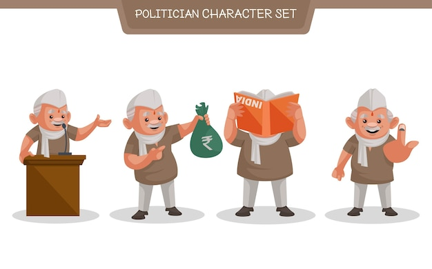 Illustration of politician character set