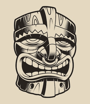 Illustration of polyanesian tiki mask on a white background.
