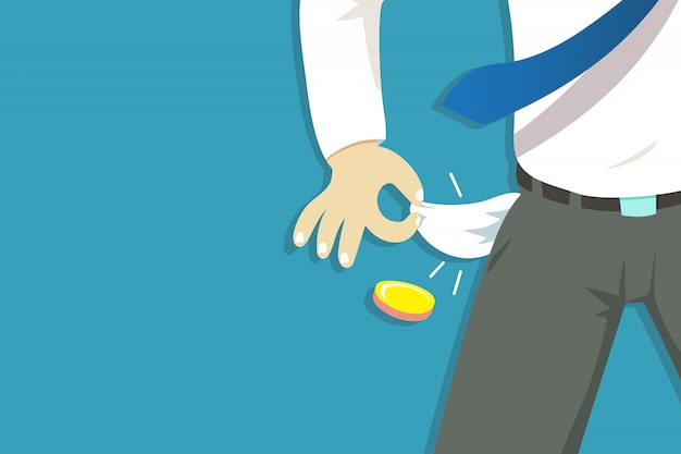 Illustration of poor businessman hand showing his empty pockets