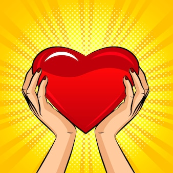 Illustration in pop art style, female hands hold a big heart