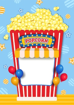 Illustration of popcorn booth decorated with awning and balloons.