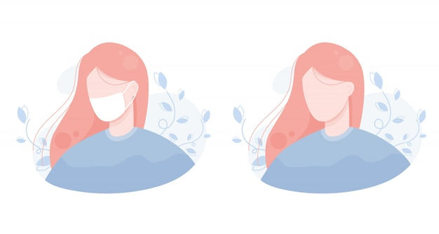 Illustration portrait of a girl in a protective mask from viruses and bacteria. coronavirus, illness, flu, colds, covid-19. for a website, user, person, avatar. background of leaves. blue pink.