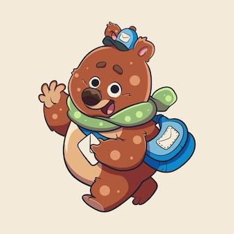Illustration of post bear for character, sticker, t-shirt illustration