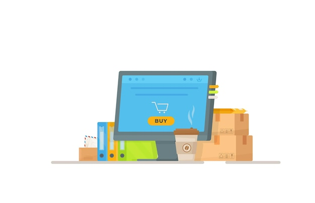 Illustration of a post office register. online shopping. shopping in the store. drawing of bags and boxes standing at the entrance to the store.