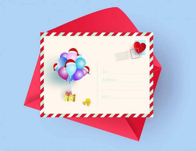 Illustration of postcard merry christmas and happy new year greeting card concept. paper a