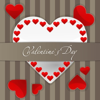 Illustration of postcard with big white paper heart and small red hearts