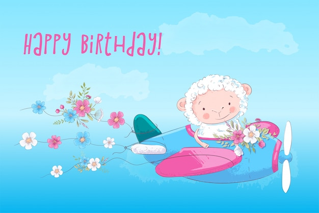 Иллюстрация постер для детской комнаты распечатать милый мультяшный баран на самолете с цветами