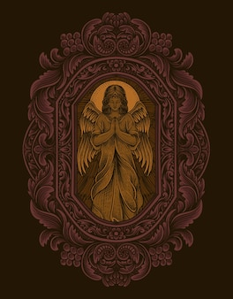 Illustration praying angel with vintage engraving ornament style