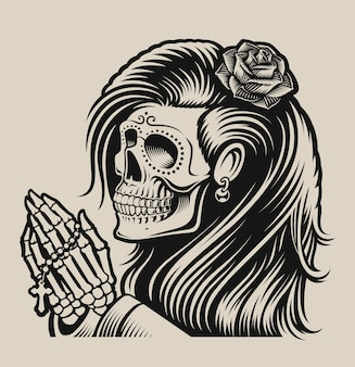 Illustration of a praying skeleton in chicano tattoo style on a white background