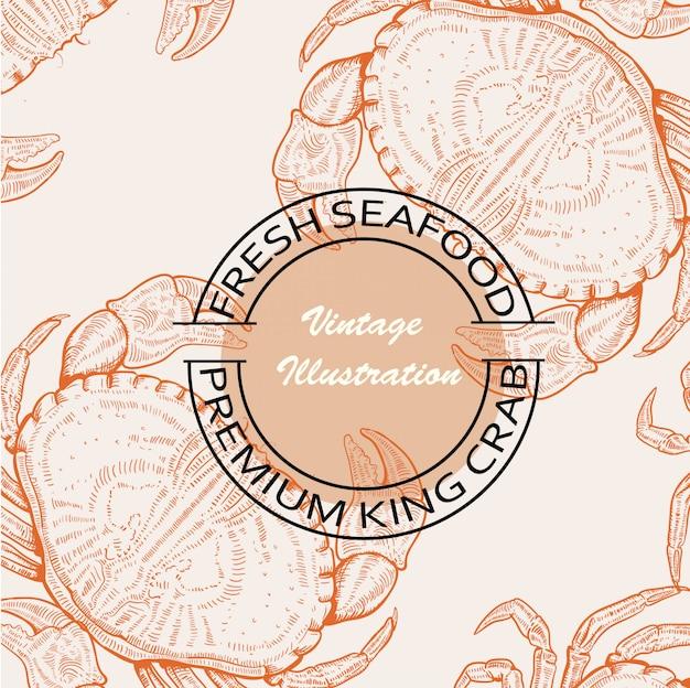 Illustration of premium seafood engraving style