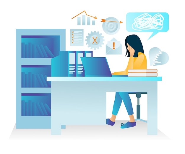 Illustration of premium vector flat style about business drop with a character