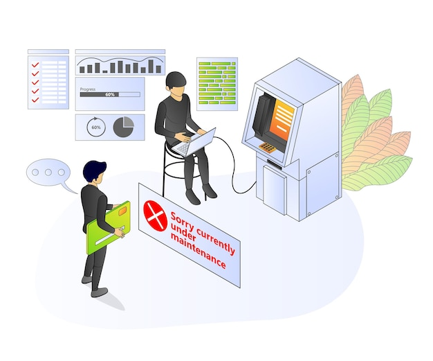 Illustration of premium vector isometric style about atm banking and finance with a character