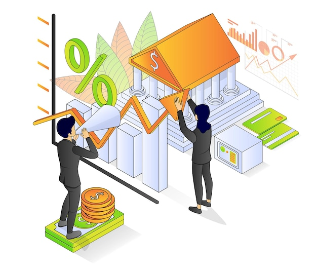 Illustration of premium vector isometric style about banking and finance with a character