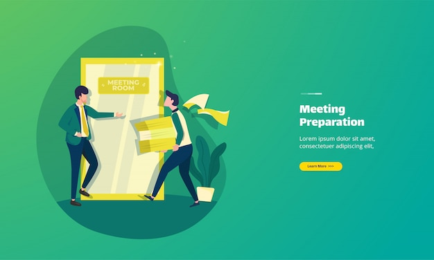 Illustration of preparing meeting documents landing page