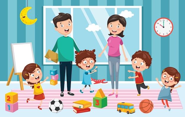 Illustration of preschool children